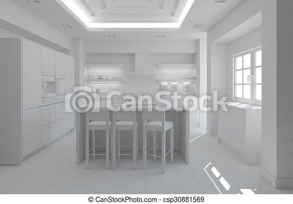3D Interior rendering of a modern kitchen - csp30881569
