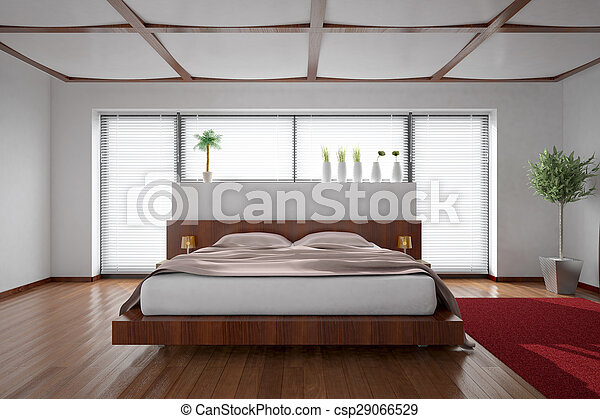 3D interior rendering of a modern bedroom - csp29066529