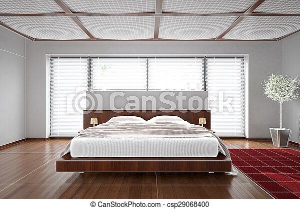 3D interior rendering of a modern bedroom - csp29068400