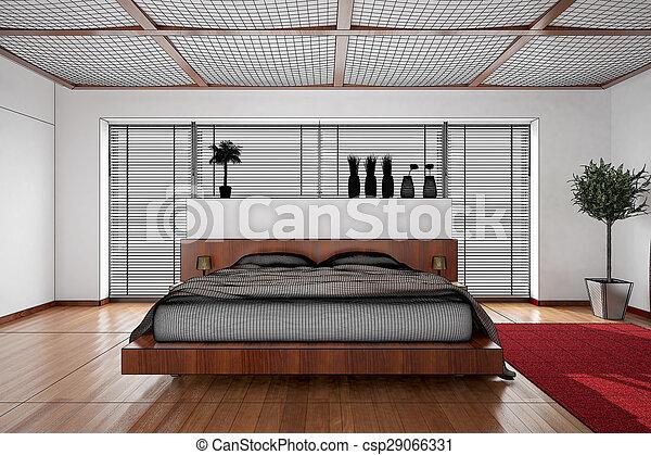 3D interior rendering of a modern bedroom - csp29066331