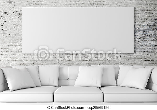 3d interior setup with couch and bl - csp28569186