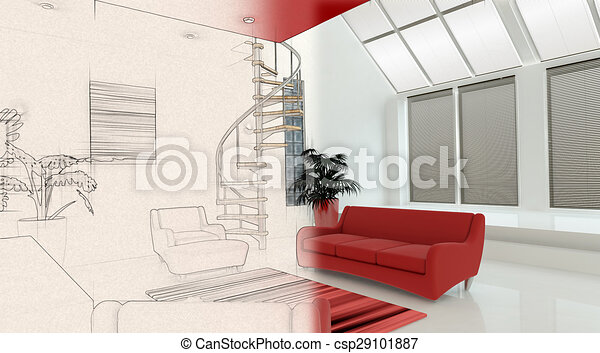 3D interior with half in sketch phase - csp29101887