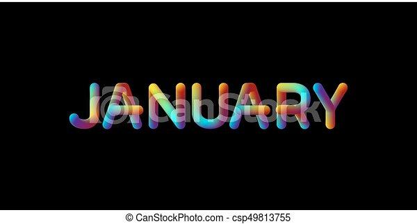 3d iridescent gradient January month sign - csp49813755