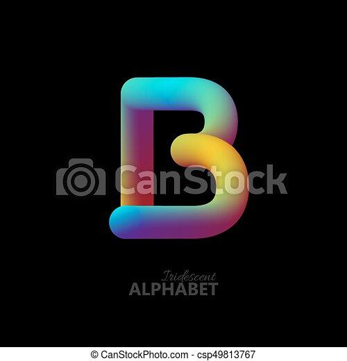 3d iridescent gradient letter B. - csp49813767