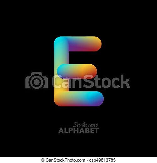 3d iridescent gradient letter E. - csp49813785
