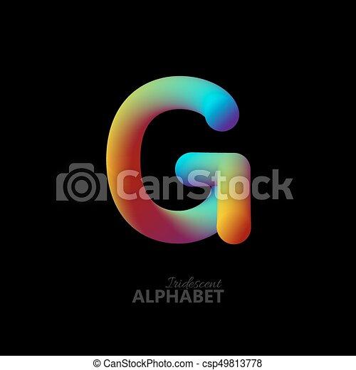 3d iridescent gradient letter G. - csp49813778