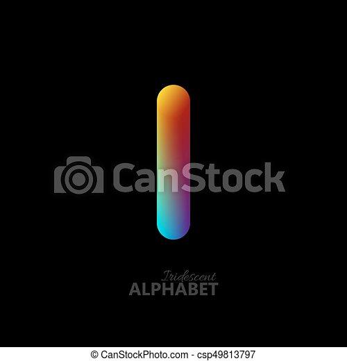 3d iridescent gradient letter I. - csp49813797