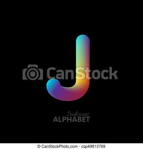 3d iridescent gradient letter J. - csp49813769