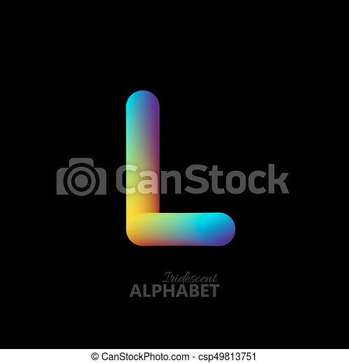 3d iridescent gradient letter L. - csp49813751