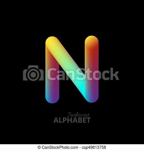 3d iridescent gradient letter N. - csp49813758