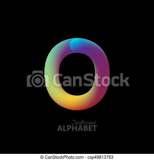 3d iridescent gradient letter O. - csp49813763