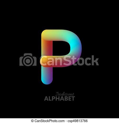 3d iridescent gradient letter P. - csp49813766