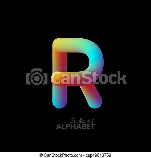 3d iridescent gradient letter R - csp49813759