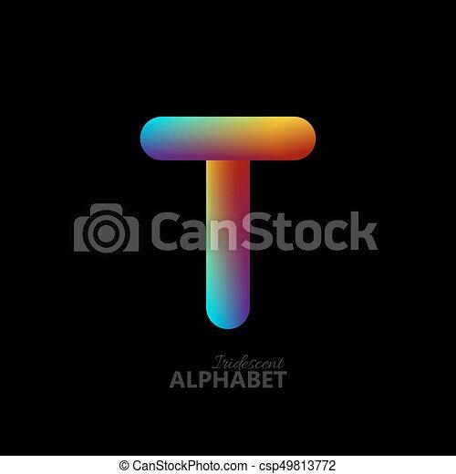 3d iridescent gradient letter T. - csp49813772
