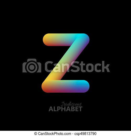 3d iridescent gradient letter Z. - csp49813790