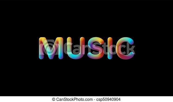 3d iridescent gradient Music sign. - csp50940904
