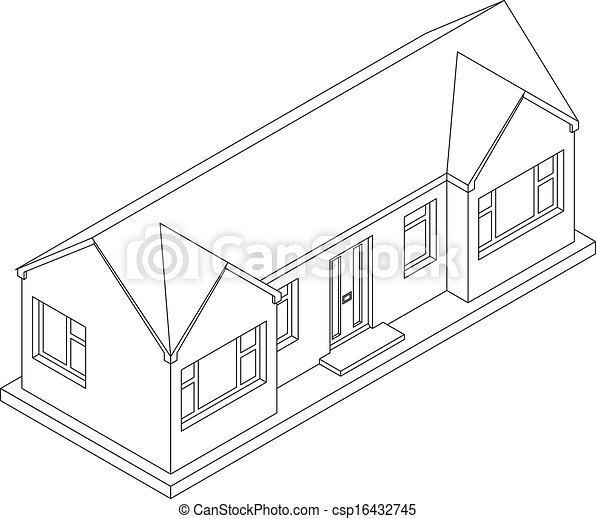 3d Isometric Bungalow 3d Isometric Line Drawing Of A Eps