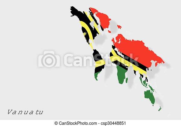 3D Isometric Flag Illustration of the country of Vanuatu - csp30448851