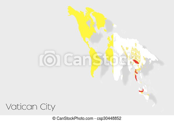 3D Isometric Flag Illustration of the country of Vatican - csp30448852