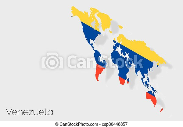 3D Isometric Flag Illustration of the country of Venezuela - csp30448857