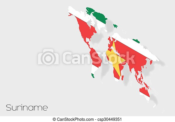 3D Isometric Flag Illustration of the country of Suriname - csp30449351
