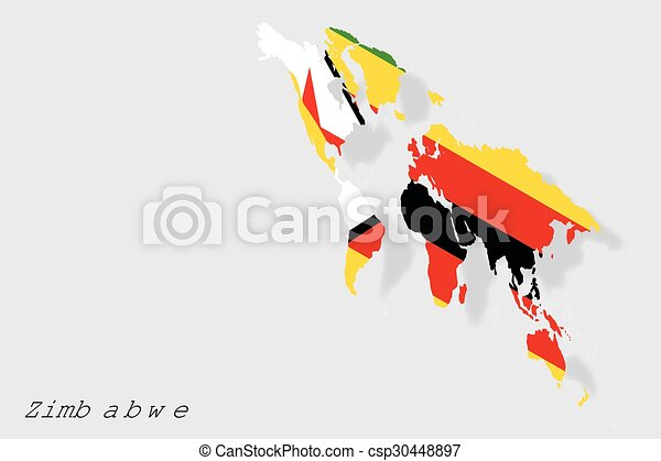3D Isometric Flag Illustration of the country of Zimbabwe - csp30448897