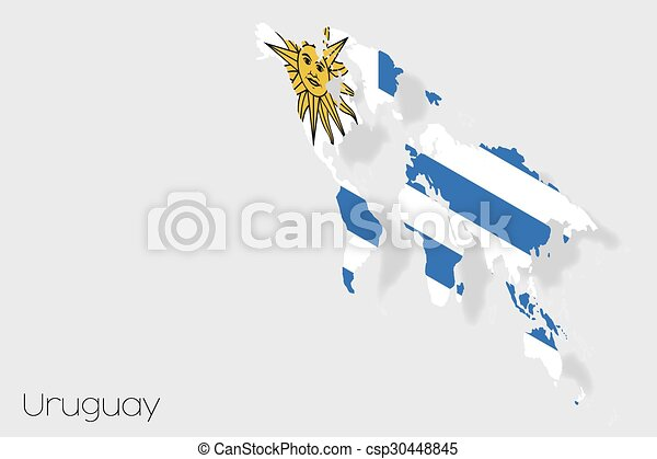 3D Isometric Flag Illustration of the country of Uruguay - csp30448845