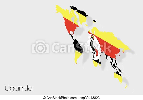 3D Isometric Flag Illustration of the country of Uganda - csp30448823