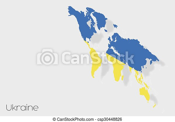 3D Isometric Flag Illustration of the country of Ukraine - csp30448826