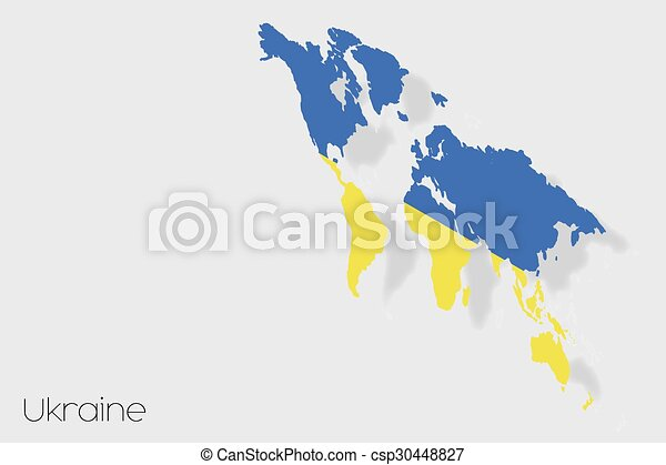 3D Isometric Flag Illustration of the country of Ukraine - csp30448827