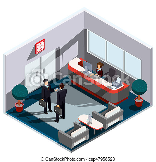 3d isometric illustration interior of reception. the interior of the lobby with secretary desk, armchairs, a coffee table and