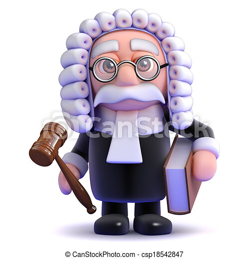 3d Judge holds a gaval and book - csp18542847