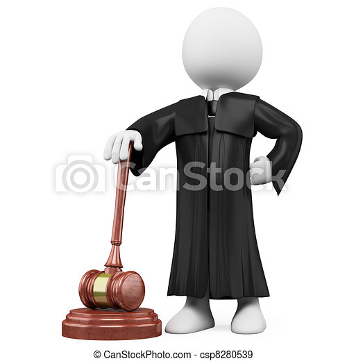 3D judge with robe and hammer - csp8280539