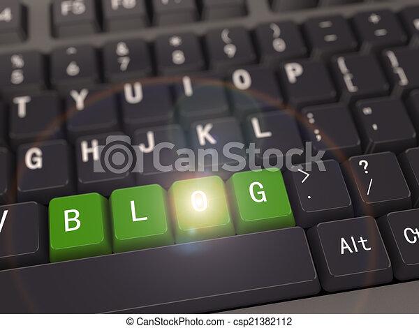 3d keyboard - word blog - csp21382112