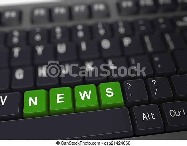 3d keyboard - word news - csp21424060