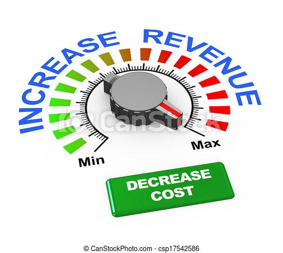 3d knob - increase revenue decrease cost - csp17542586