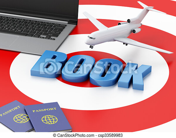 3d Laptop Pc Airplane And Passport 3d Renderer Illustration