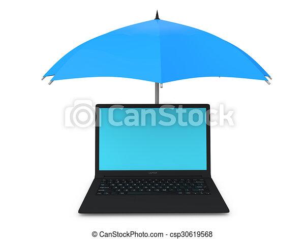 3d laptop under umbrella - csp30619568