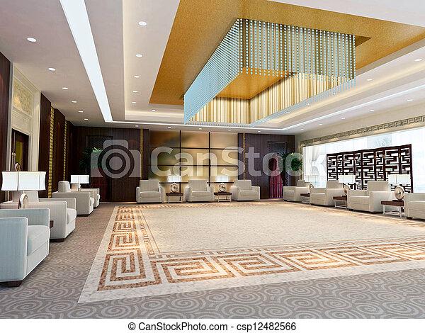 3d large reception room rendering - csp12482566