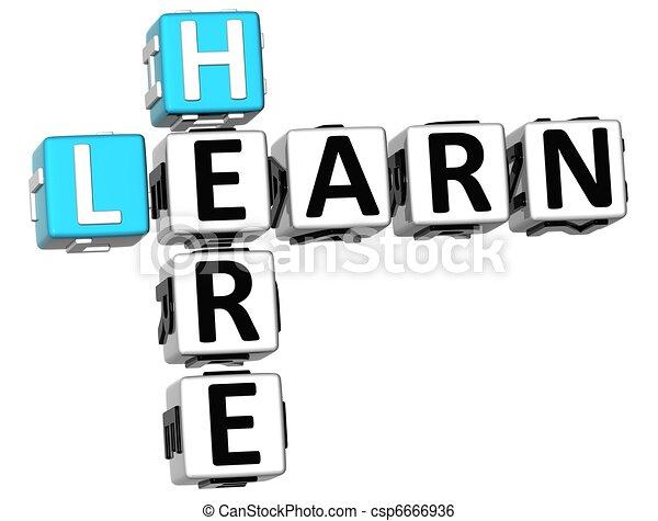 3D Learn Here Crossword - csp6666936