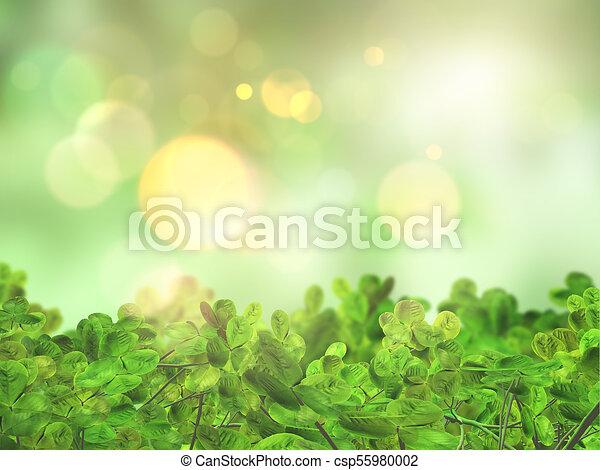 3D leaves on a bokeh lights defocussed background