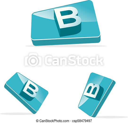 3d letter B vector logo design. B letter box icon. - csp58479497