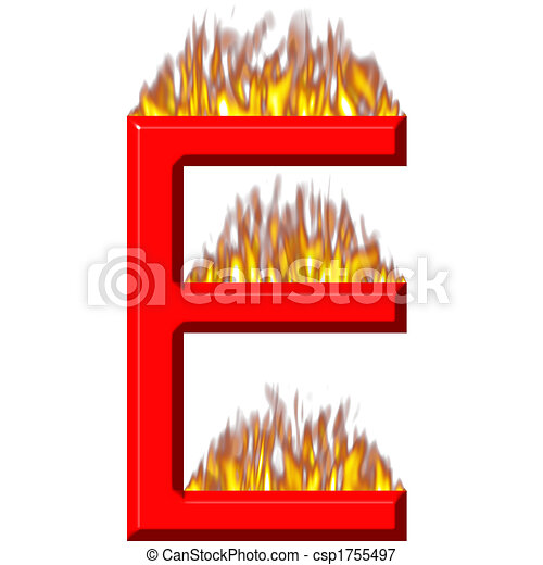 3D Letter E on Fire - csp1755497