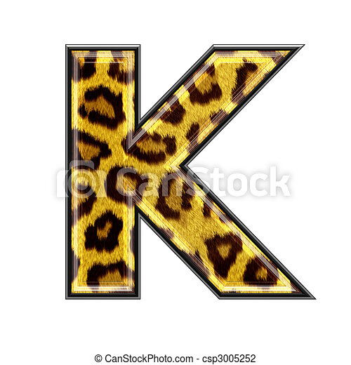 3d Letter With Panther Skin Texture   K   Csp3005252