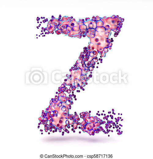 3D Letter Z with abstract biological texture