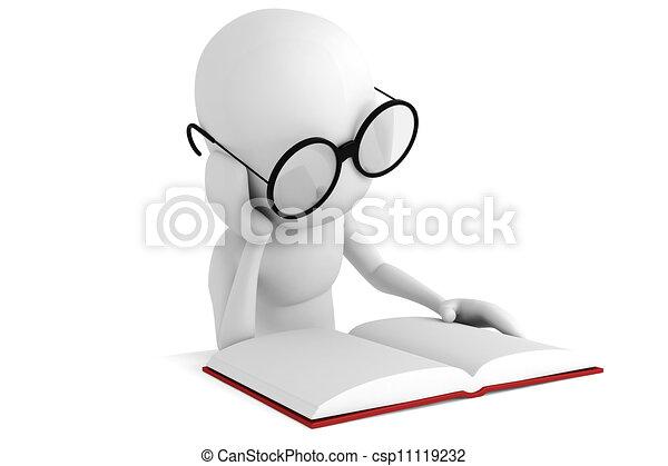 3d, libro, lectura, hombre - csp11119232