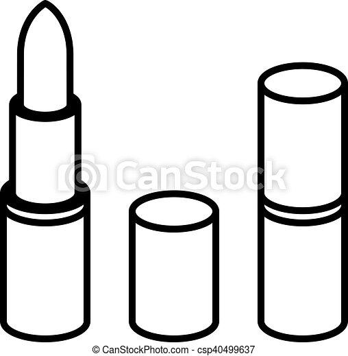 3d Lipstick Black Line Symbol Illustration For The Web