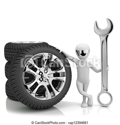 3d little human- car mechanic. 3d image. On a white background - csp12394661