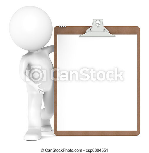 3D Little Human Character and a Clipboard - csp6804551