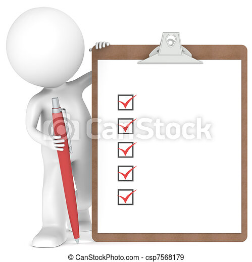 3D little human character holding a Clipboard and Pen - csp7568179